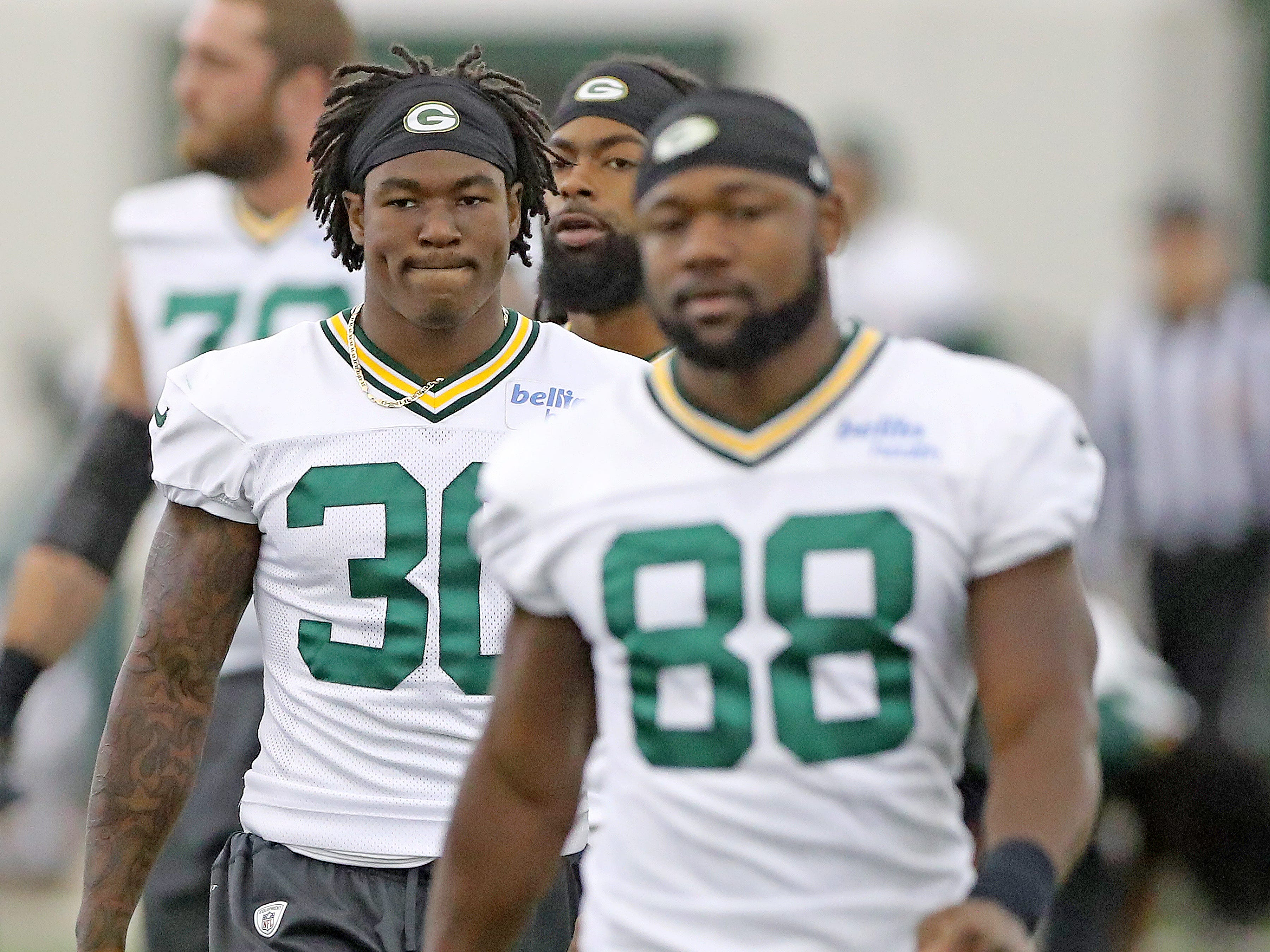 Green Bay Packers running back Jamaal Williams (30) during practice inside the Hutson Center Thursday,October 11, 2018 in Ashwaubenon, Wis.