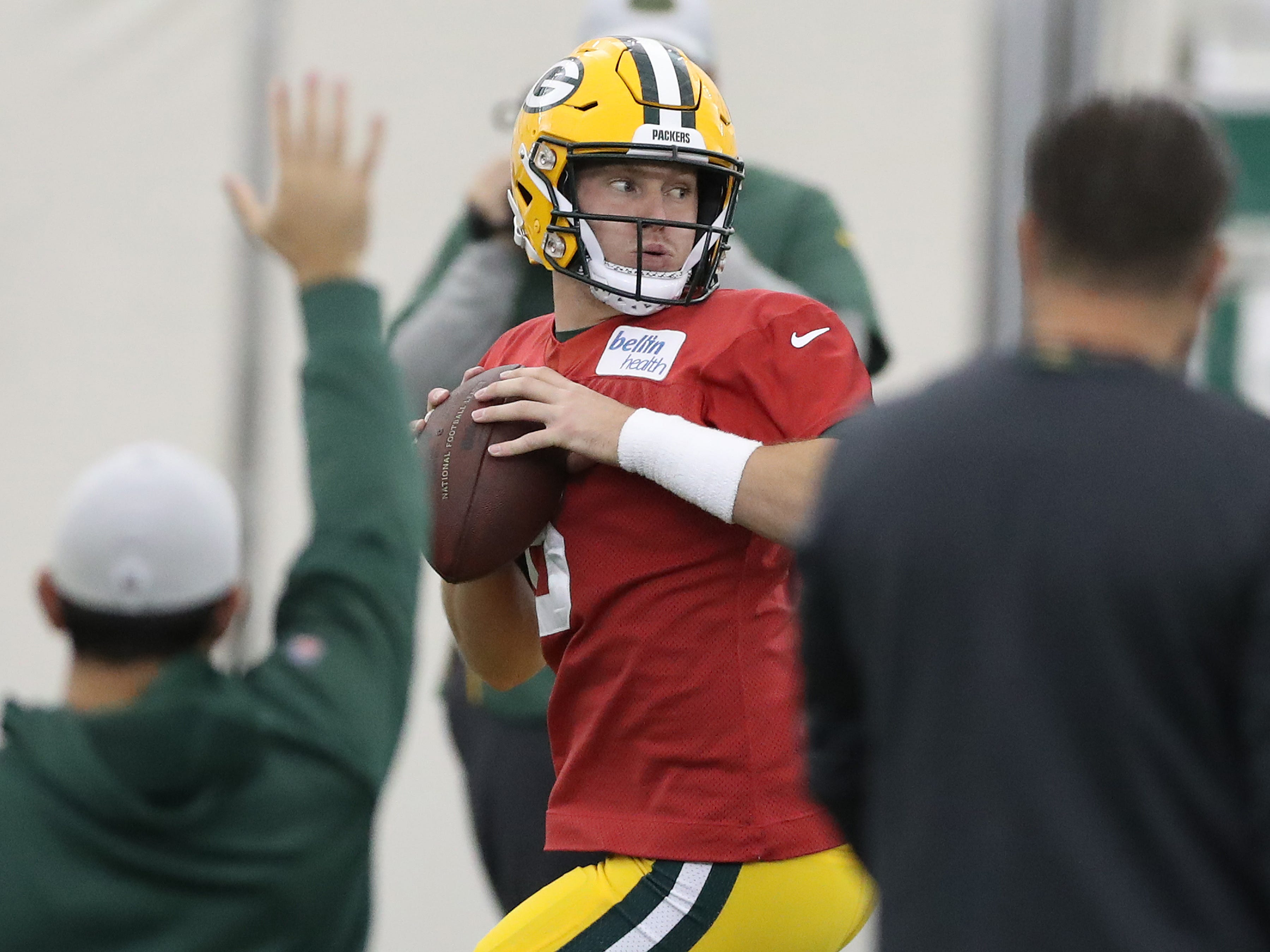 Green Bay Packers quarterback Tim Boyle (8) runs a drill during practice inside the Hutson Center Thursday, October 11, 2018 in Ashwaubenon, Wis.