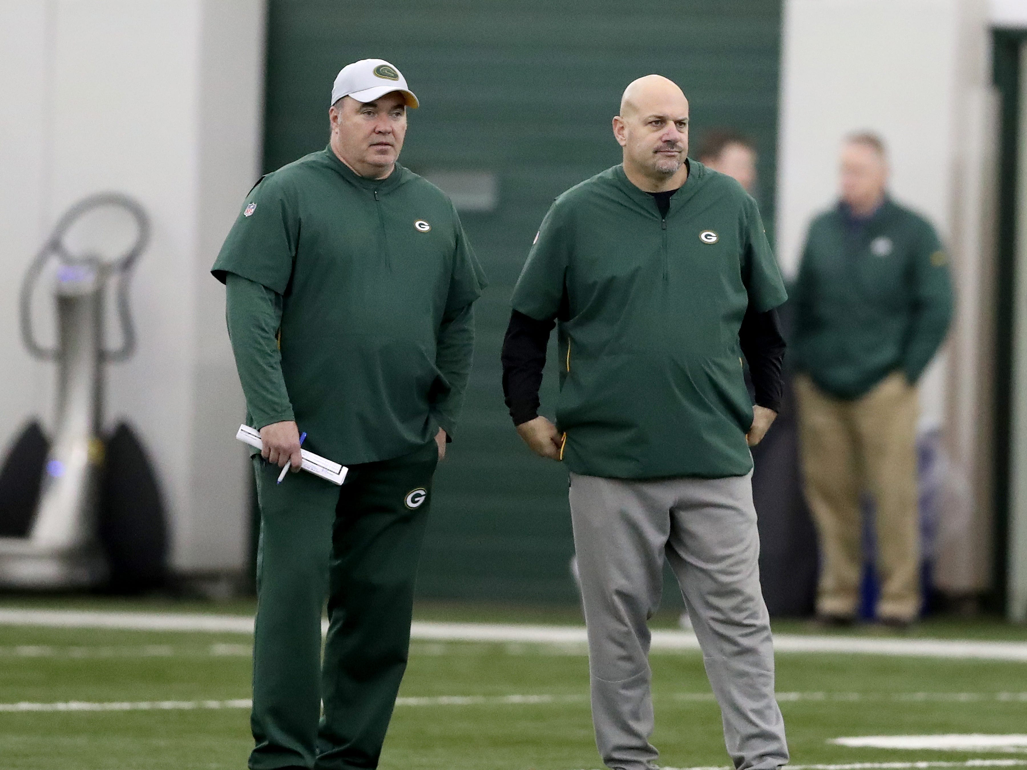 Green Bay Packers head coach Mike McCarthy and defensive coordinator Mike Pettine  during practice inside the Hutson Center Thursday, October 11, 2018 in Ashwaubenon, Wis.