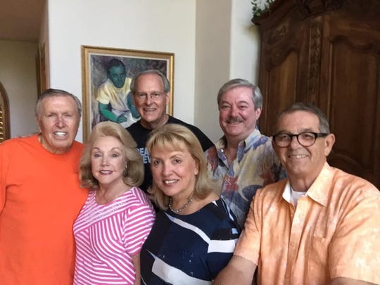Front Row L-R John McDonald, Peggy Cravens, Ogniana Masser,  Al Jones, Back Row: L-R Rob Wright Marc Byrd at the home of John and Rob in Beaver Creek, Colorado in 2016.  John and Rob donated the building that houses the LGBTQ Community Center of Palm Springs