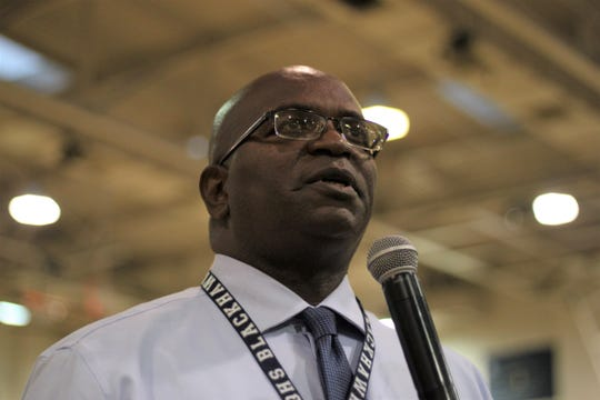 Rudy Wilson addresses parents at a town hall meeting on Oct. 10, 2018