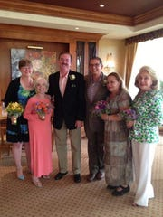 Tracy Waggoner (Al's niece), Gloria Greer, Marc Byrd, Al Jones, Ann Greer, Peggy Cravens at Marc's and Al's wedding in July 2013 at Morningside Country Club