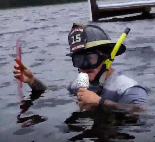 """Milton Firefighter Frank Busby whips out his alter ego, """"Francis Cantore,"""" to provide spoof coverage of Hurricane Michael in Santa Rosa County."""