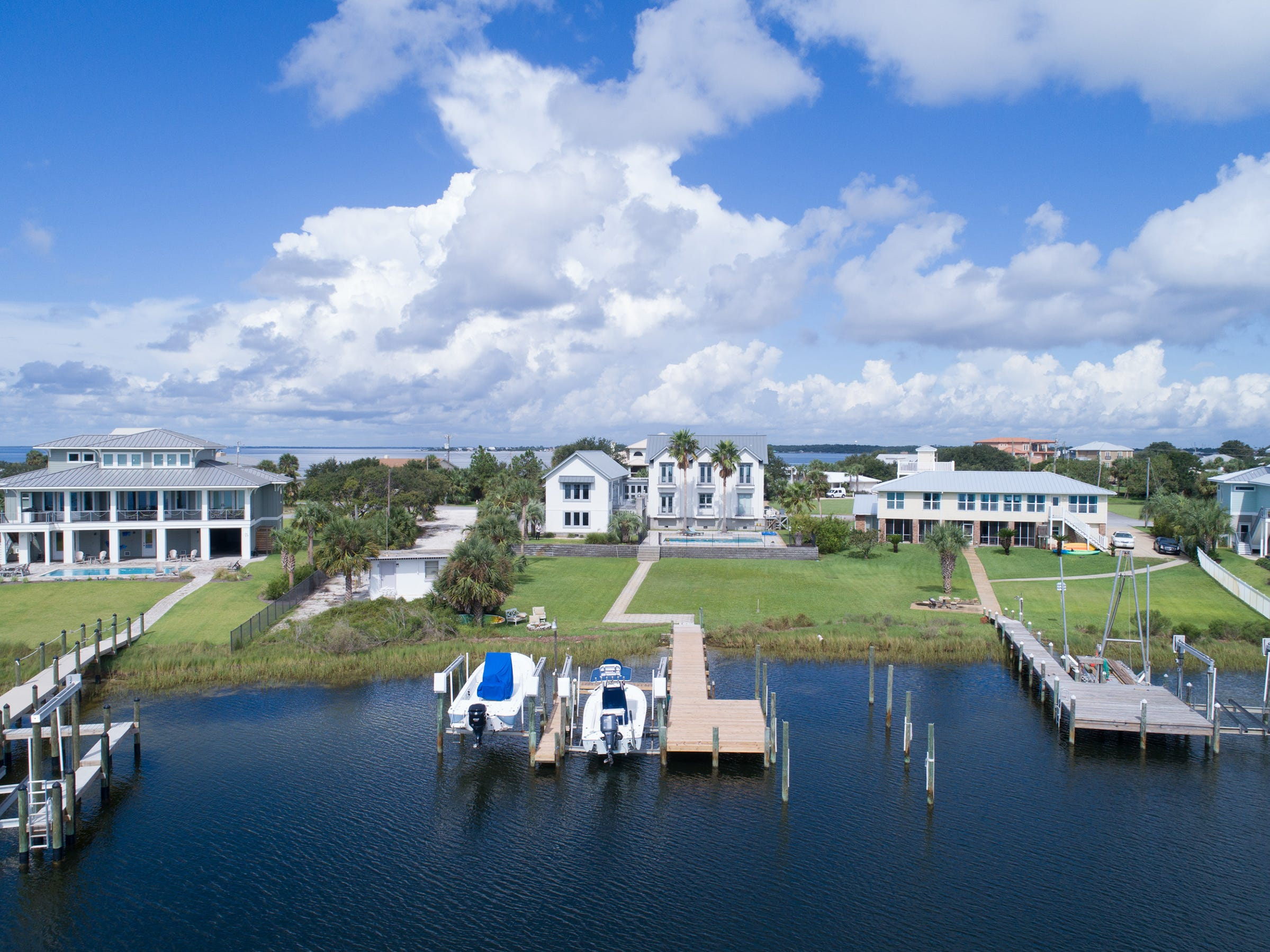 200 Sabine Drive, the home is a waterfront paradise.