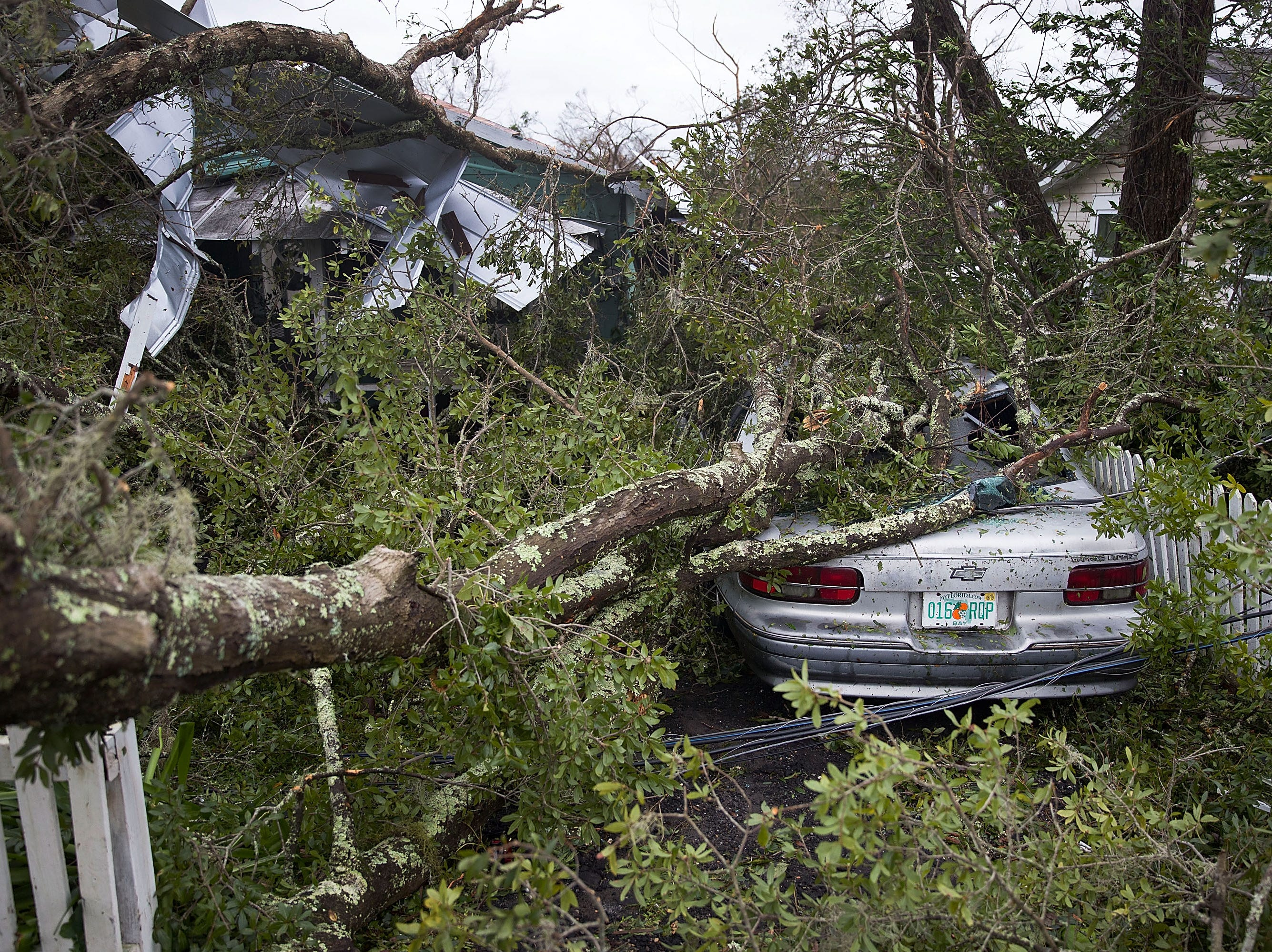 PANAMA CITY, FL - OCTOBER 10:  A tree lays on a home and car after hurricane Michael passed through the area on October 10, 2018 in Panama City, Florida. The hurricane hit the Florida Panhandle as a category 4 storm.