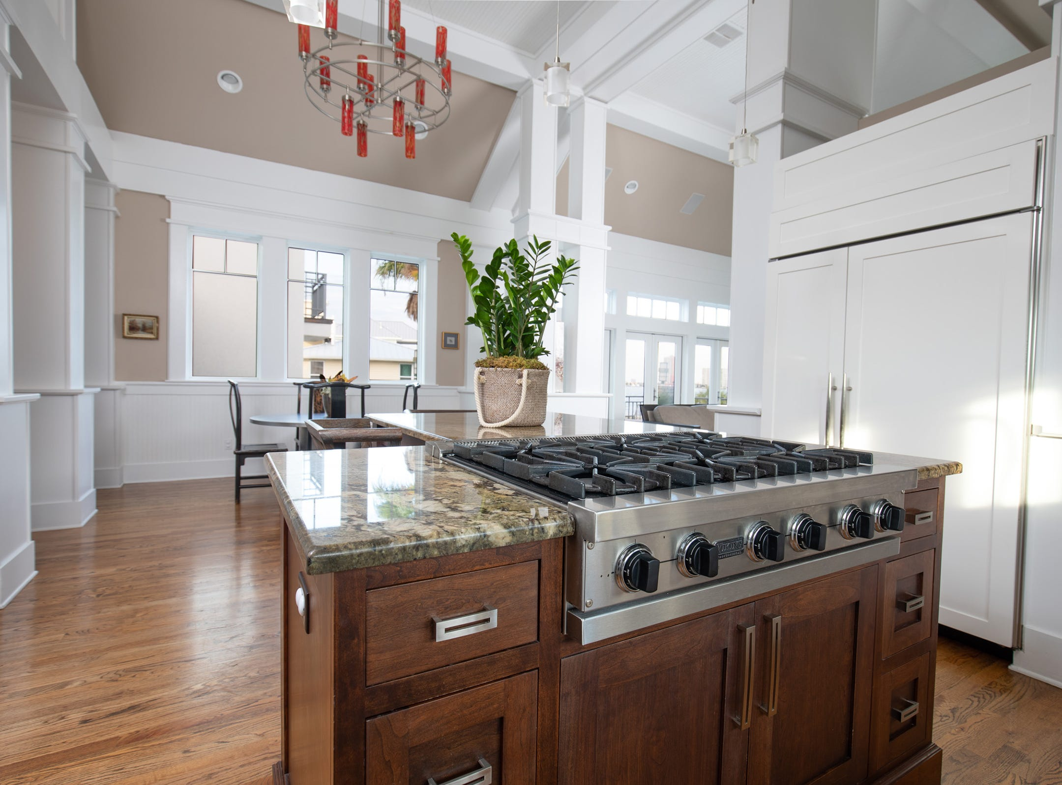 200 Sabine Drive, the open kitchen with a large island.
