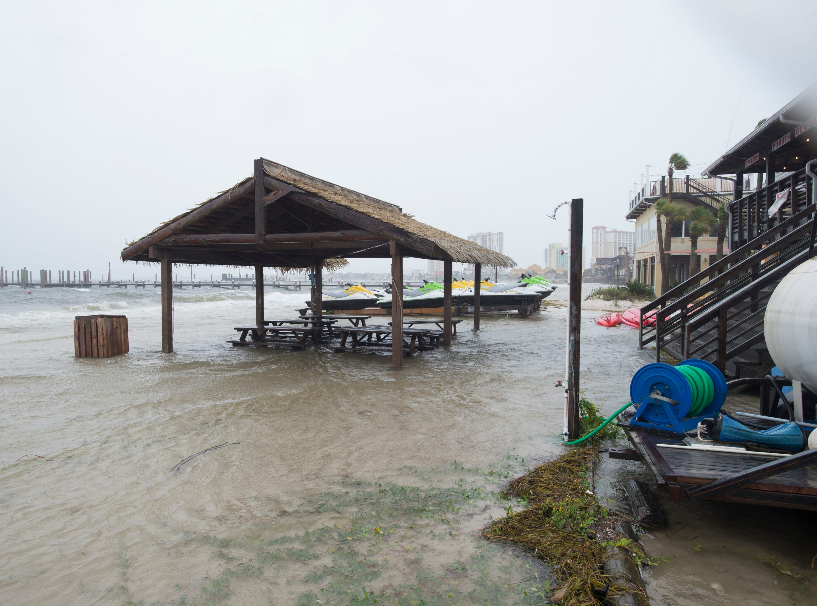 Quietwater Beach is flooded as Hurricane Michael arrives in Pensacola on Wednesday, October 10, 2018.