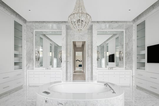 One of the nine bathrooms in this luxury home in Scottsdale.