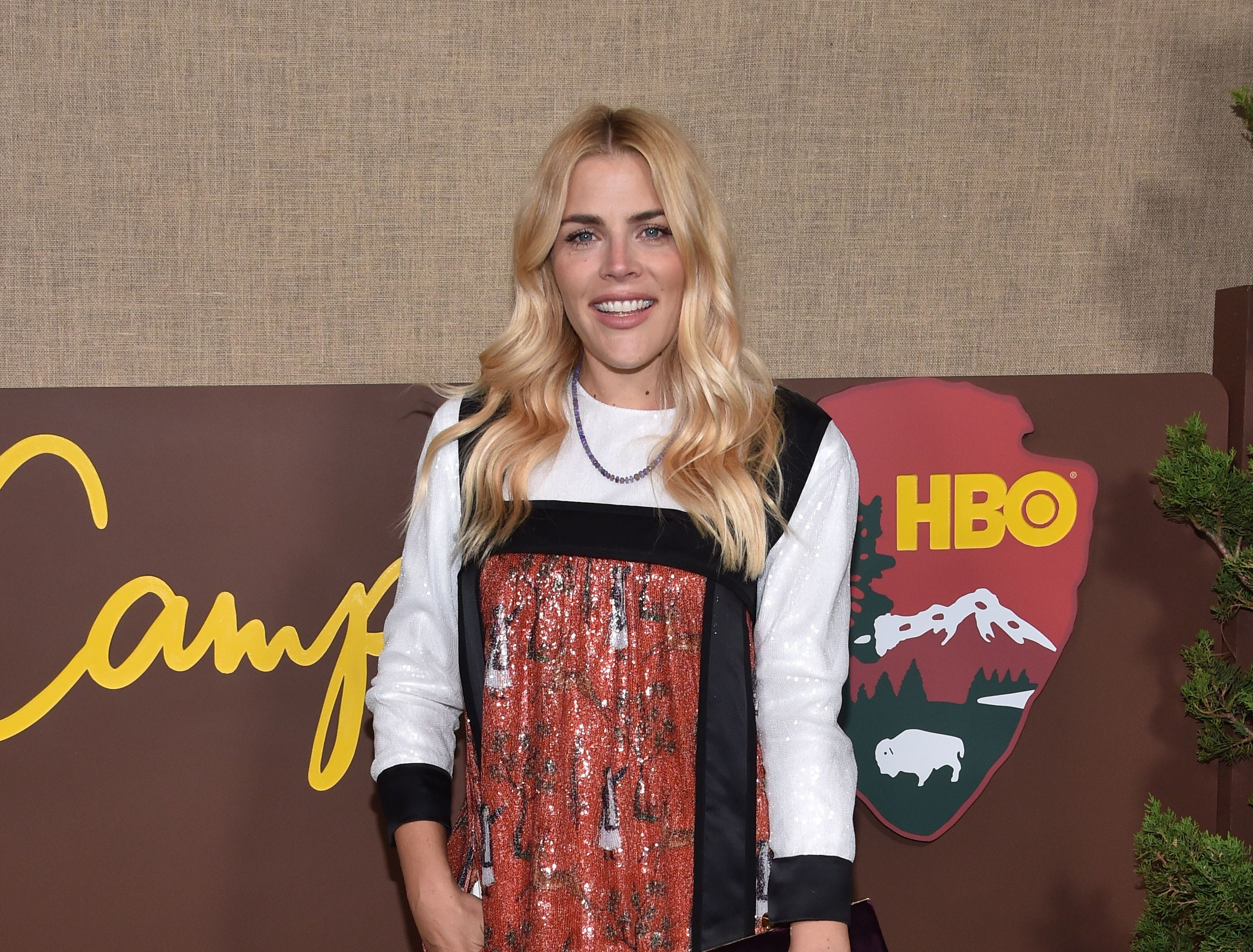 "Busy Philipps arrives for the HBO series premiere of ""Camping"" on Oct. 10, 2018, in Los Angeles."
