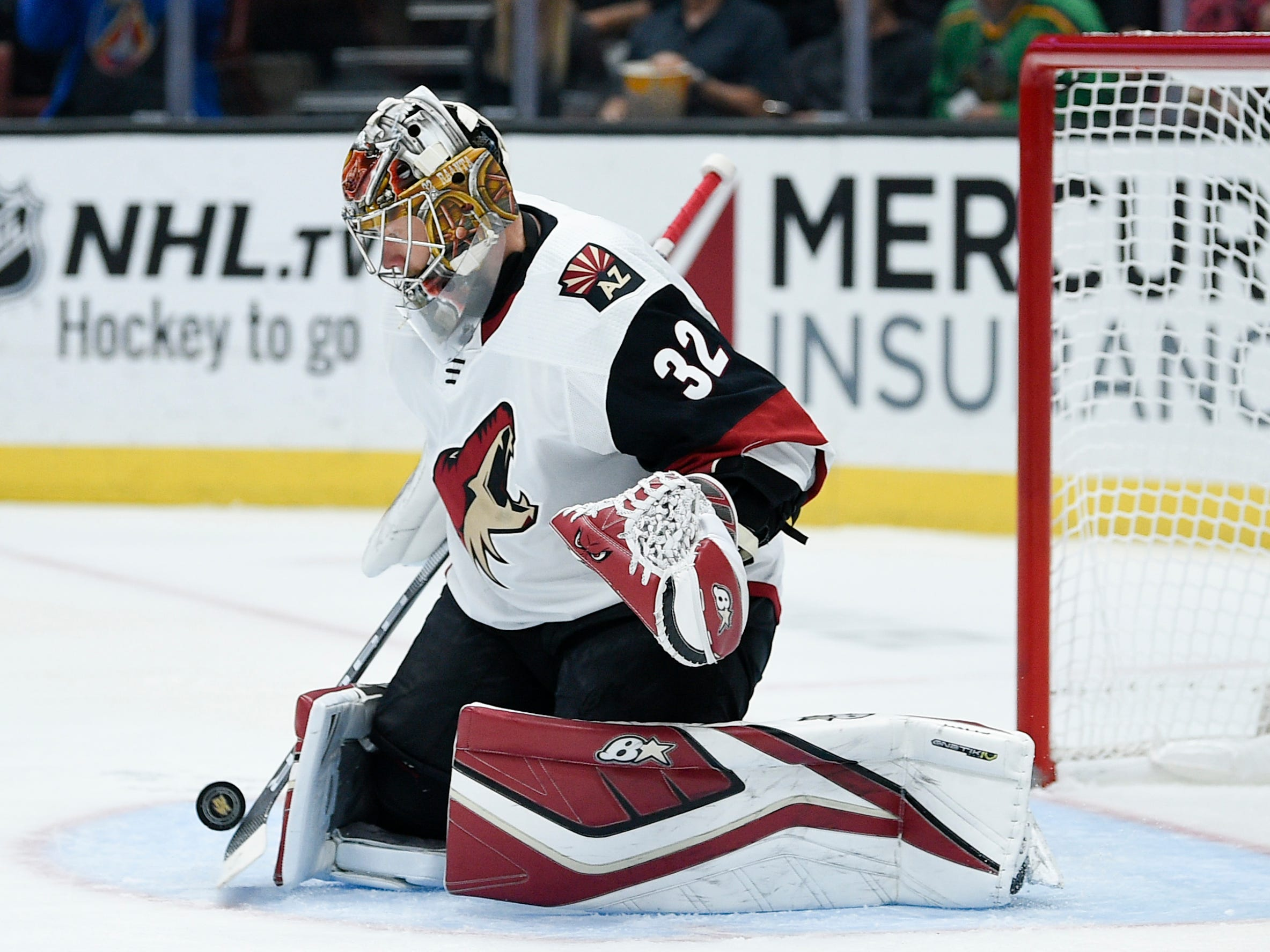Oct 10, 2018; Anaheim, CA, USA; Arizona Coyotes goalie Antti Raanta (32) makes a save during the second period against the Anaheim Ducks at Honda Center.