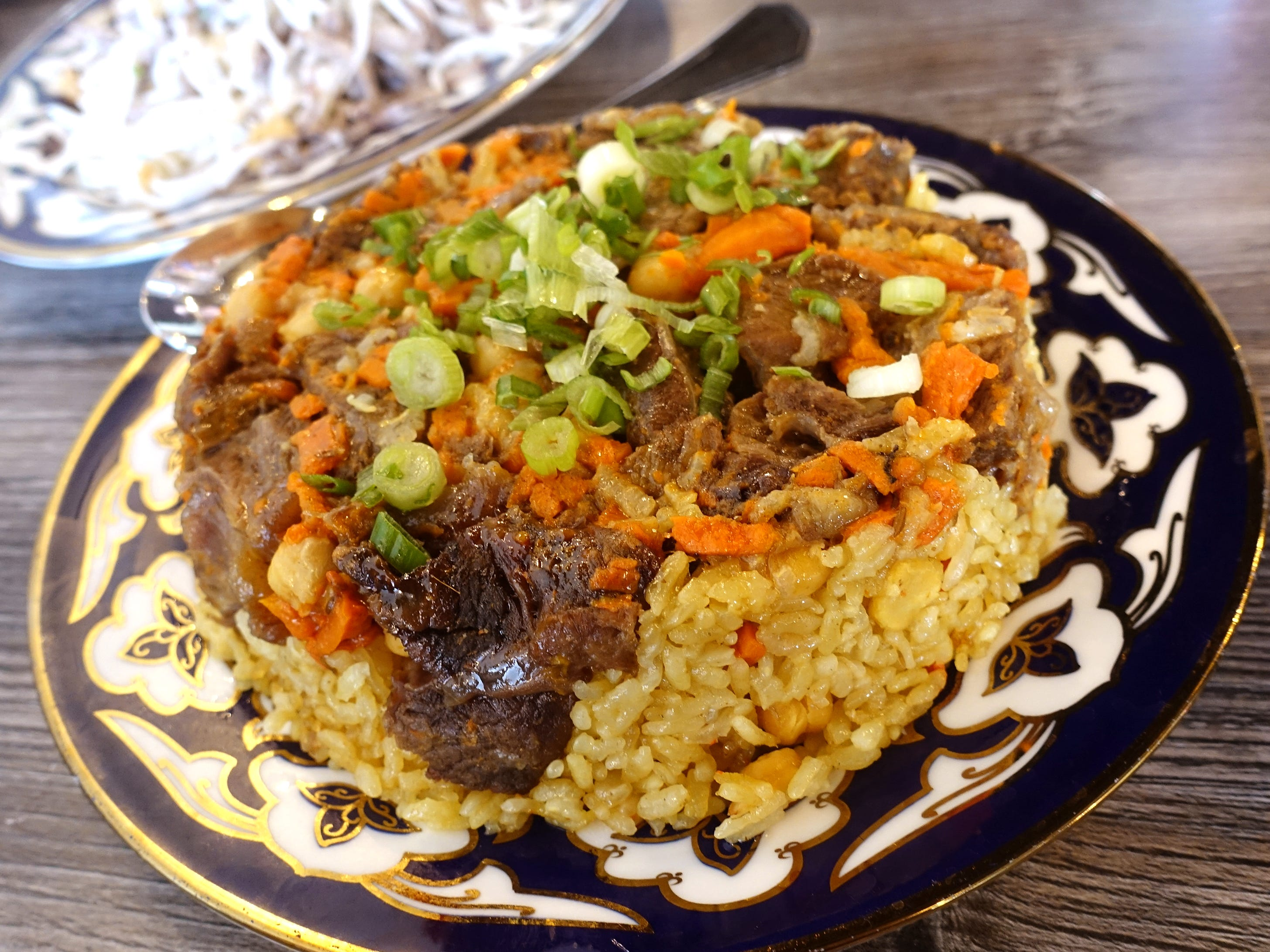 Uzbek plov with beef, rice, carrots and chickpeas at Cafe Chenar in Phoenix.