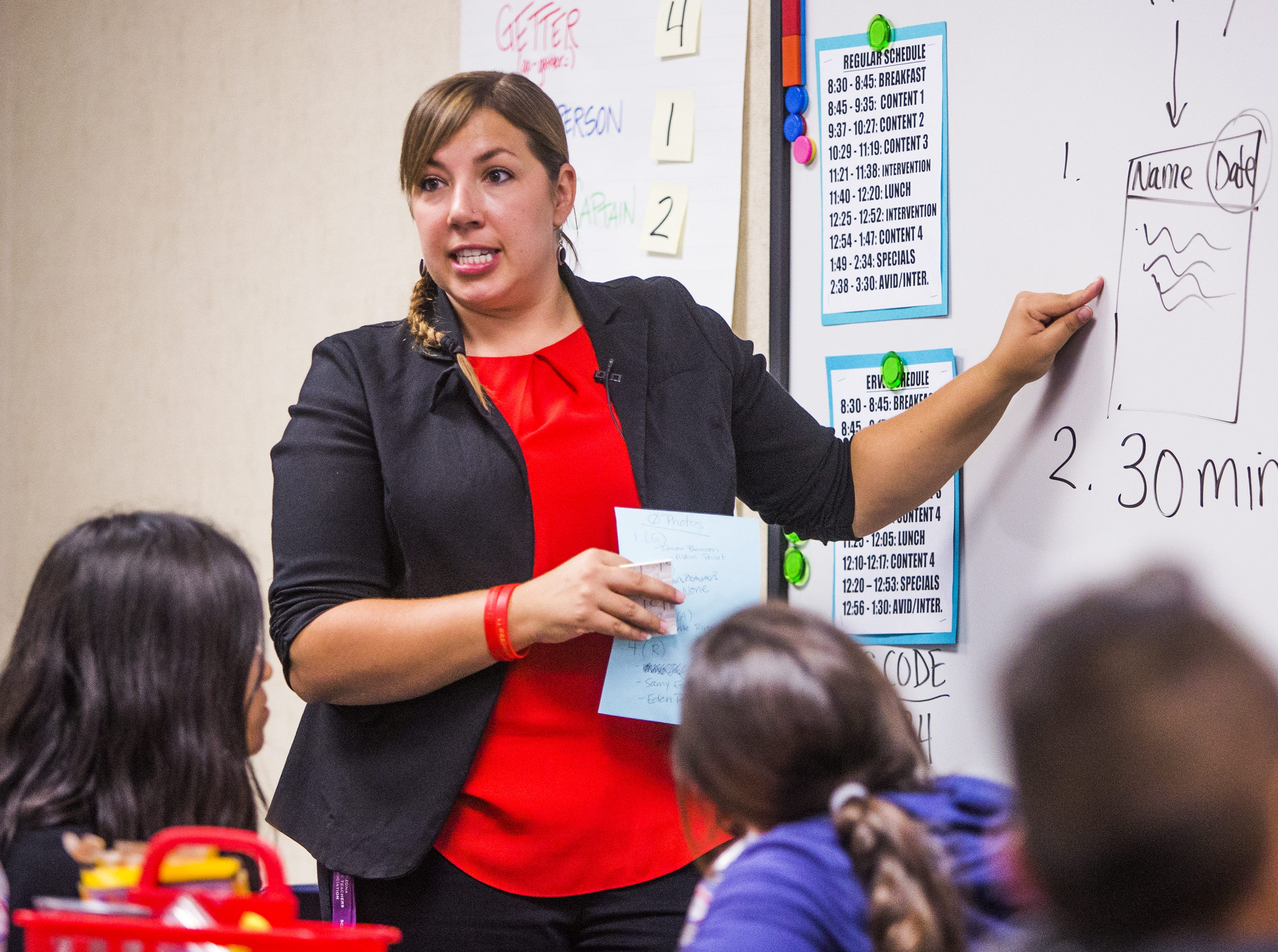 Rebecca Garelli teaches her 6th grade class at Sevilla West Elementary School in Phoenix, Monday afternoon, September 17, 2018. Garelli has been one of the leaders of the #RedforEd movement, demanding increased funding for education in Arizona.