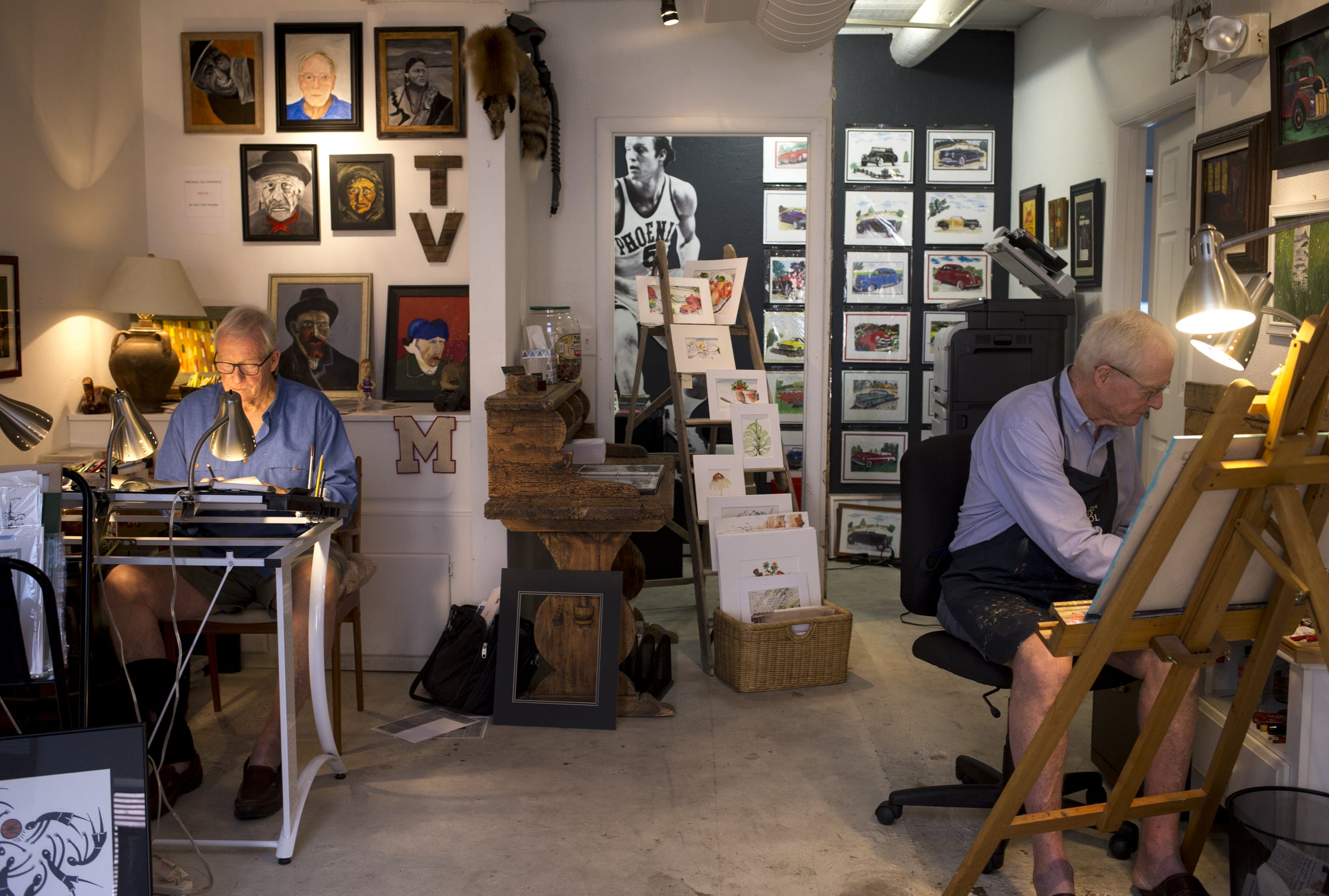 Dick (left) and Tom Van Arsdale work in their Scottsdale art studio in early October.