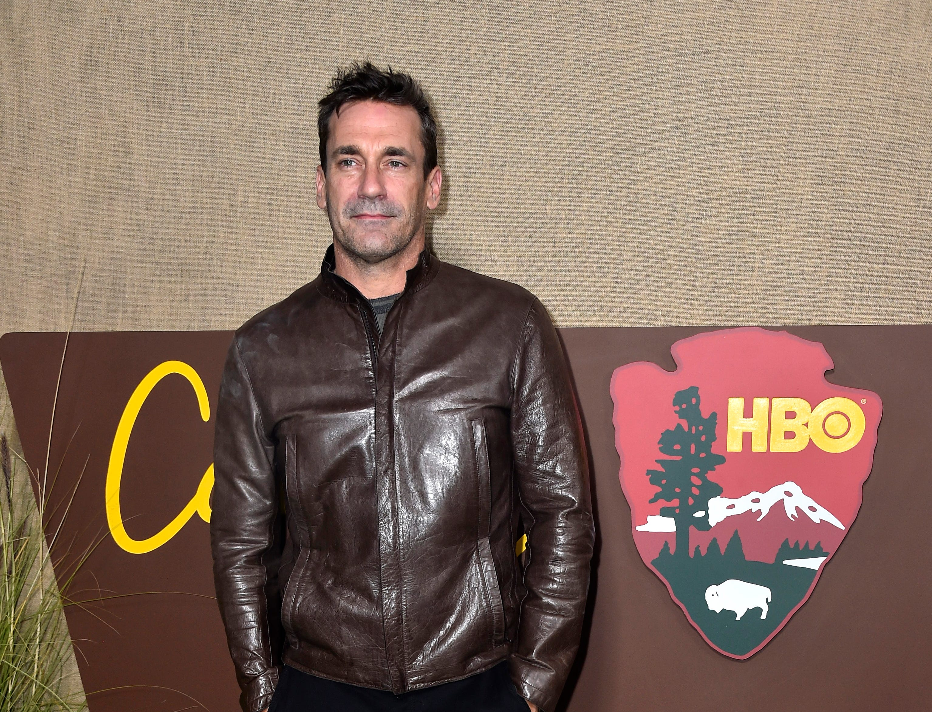 "Jon Hamm arrives for the HBO series premiere of ""Camping"" on Oct. 10, 2018, in Los Angeles."