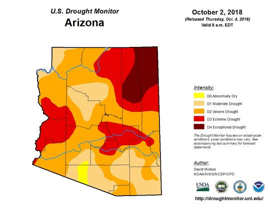 Oct. 2 Arizona drought map from the U.S. Drought Monitor.