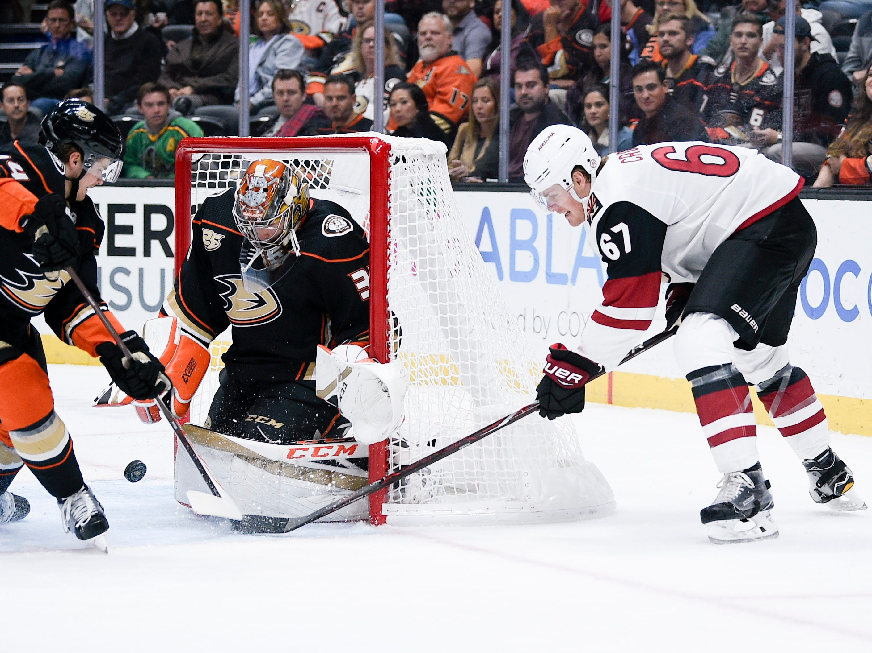 Oct 10, 2018; Anaheim, CA, USA; Anaheim Ducks goalie John Gibson (36) makes a save off a shot by Arizona Coyotes left wing Lawson Crouse (67) during the first period at Honda Center.