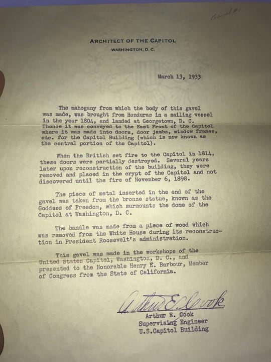 A letter from 1933 details how the congressional gavel found in Don Smith's storage unit was made.