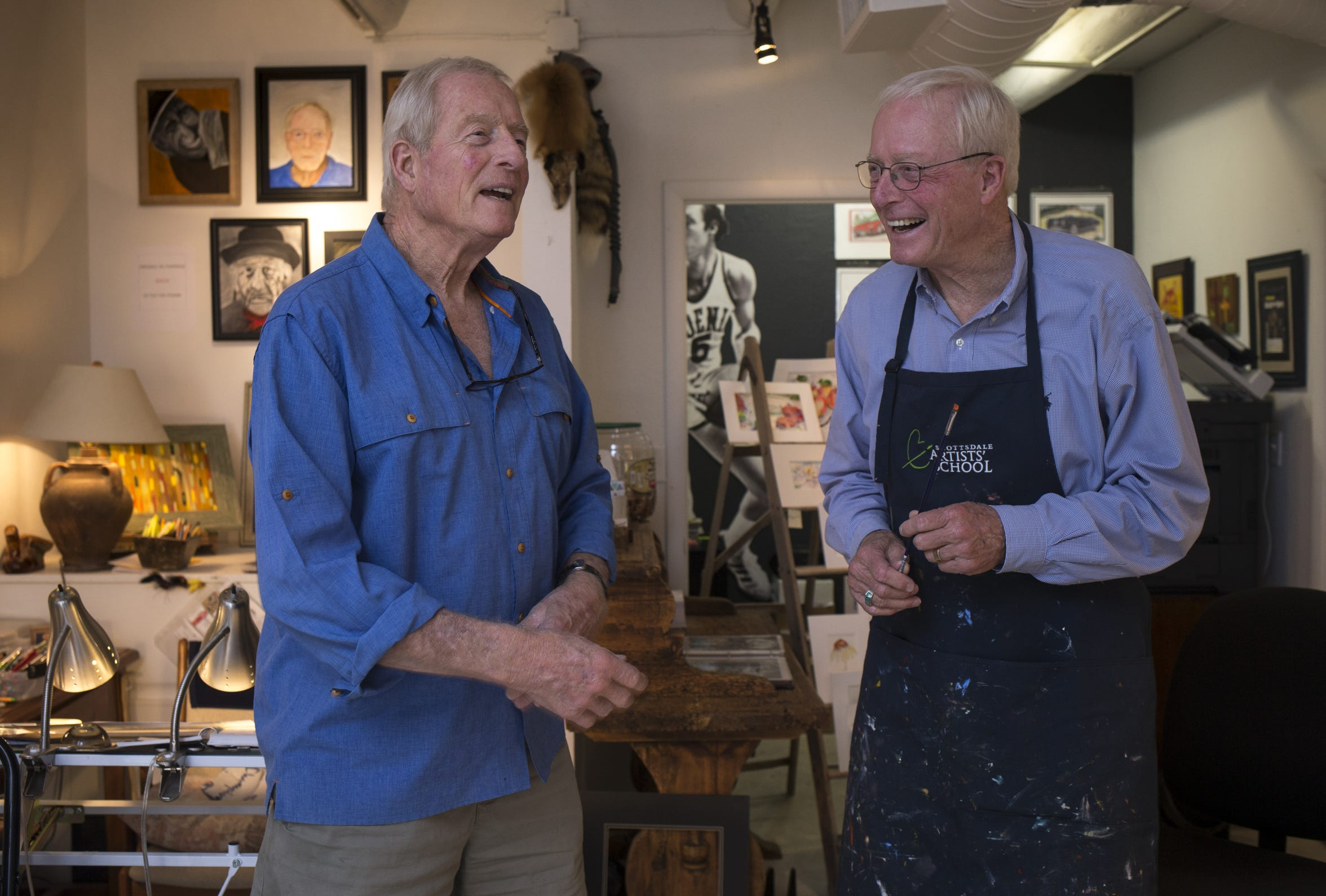 Dick (left) and Tom Van Arsdale (left) work in their Scottsdale art studio in early October.