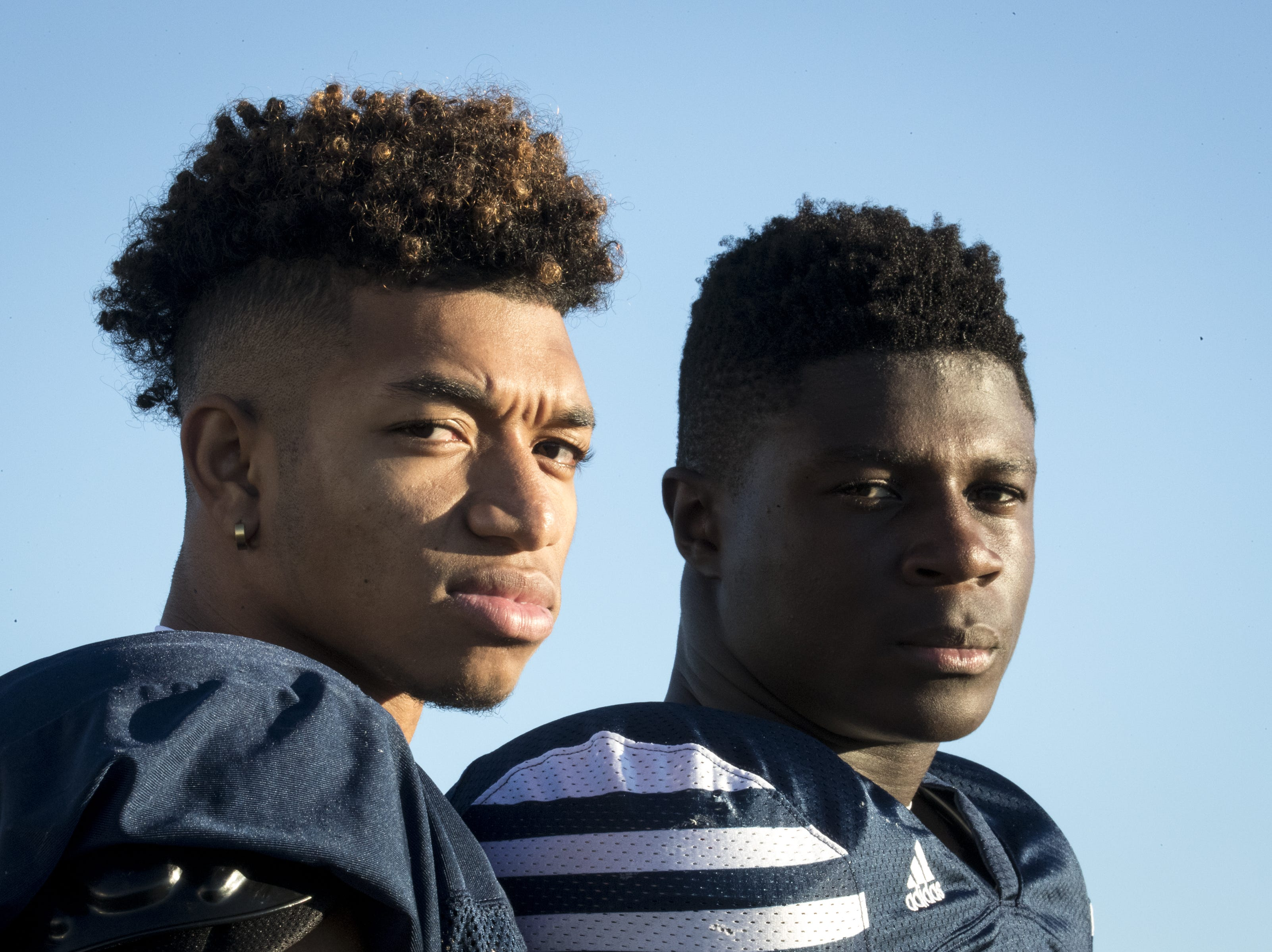 Kaleb Covington (left) and Amelec Juntunen during football practice, October 9, 2018, at Pinnacle High School, Phoenix.