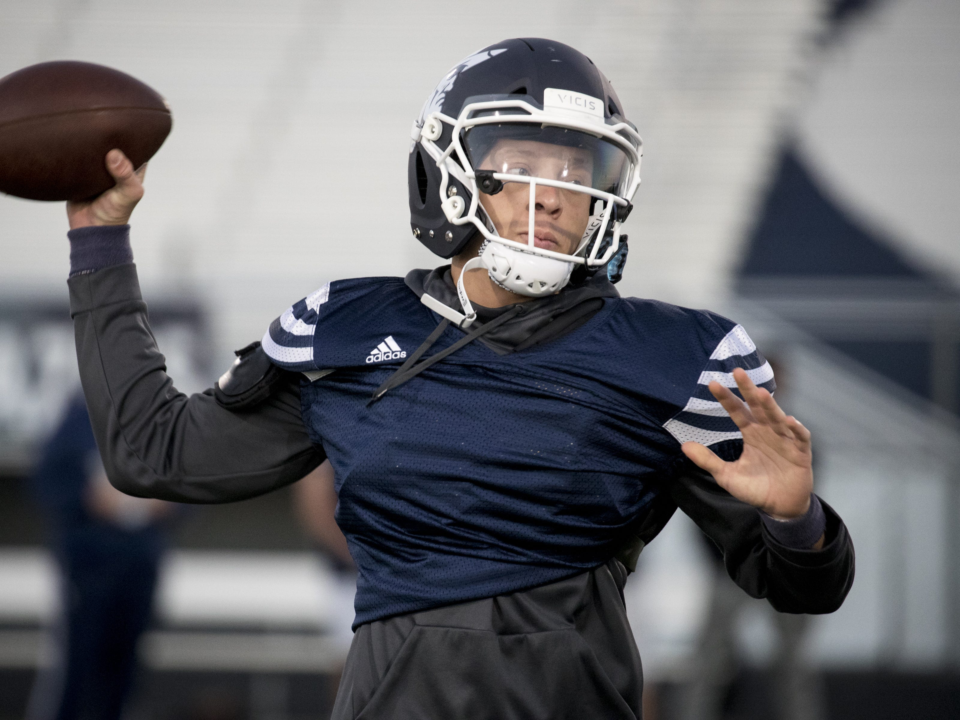 Spencer Rattler (QB) throws a pass during football practice, October 9, 2018, at Pinnacle High School, Phoenix.
