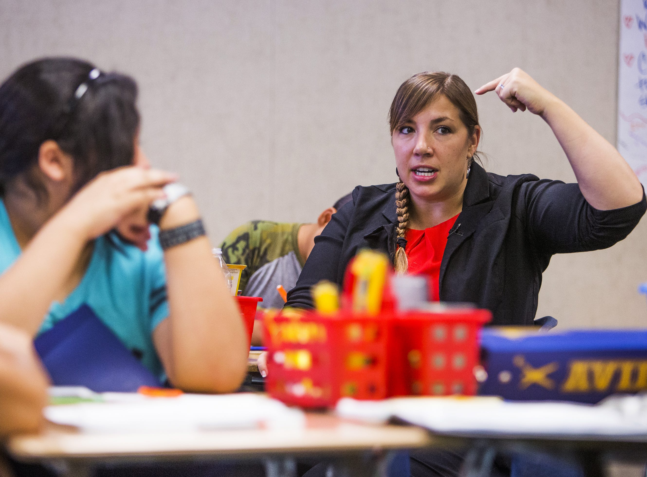Rebecca Garelli teaches 6th grade science at Sevilla West Elementary School in Phoenix, Monday morning, September 17, 2018. Garelli has been one of the leaders of the #RedforEd movement, demanding increased funding for education in Arizona.
