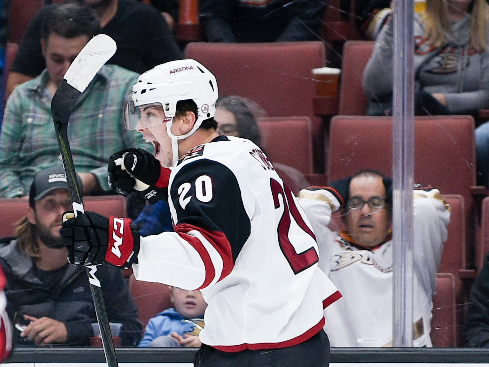 Oct 10, 2018; Anaheim, CA, USA; Arizona Coyotes center Dylan Strome (20) reacts after scoring a goal against the Anaheim Ducks during the first period at Honda Center.