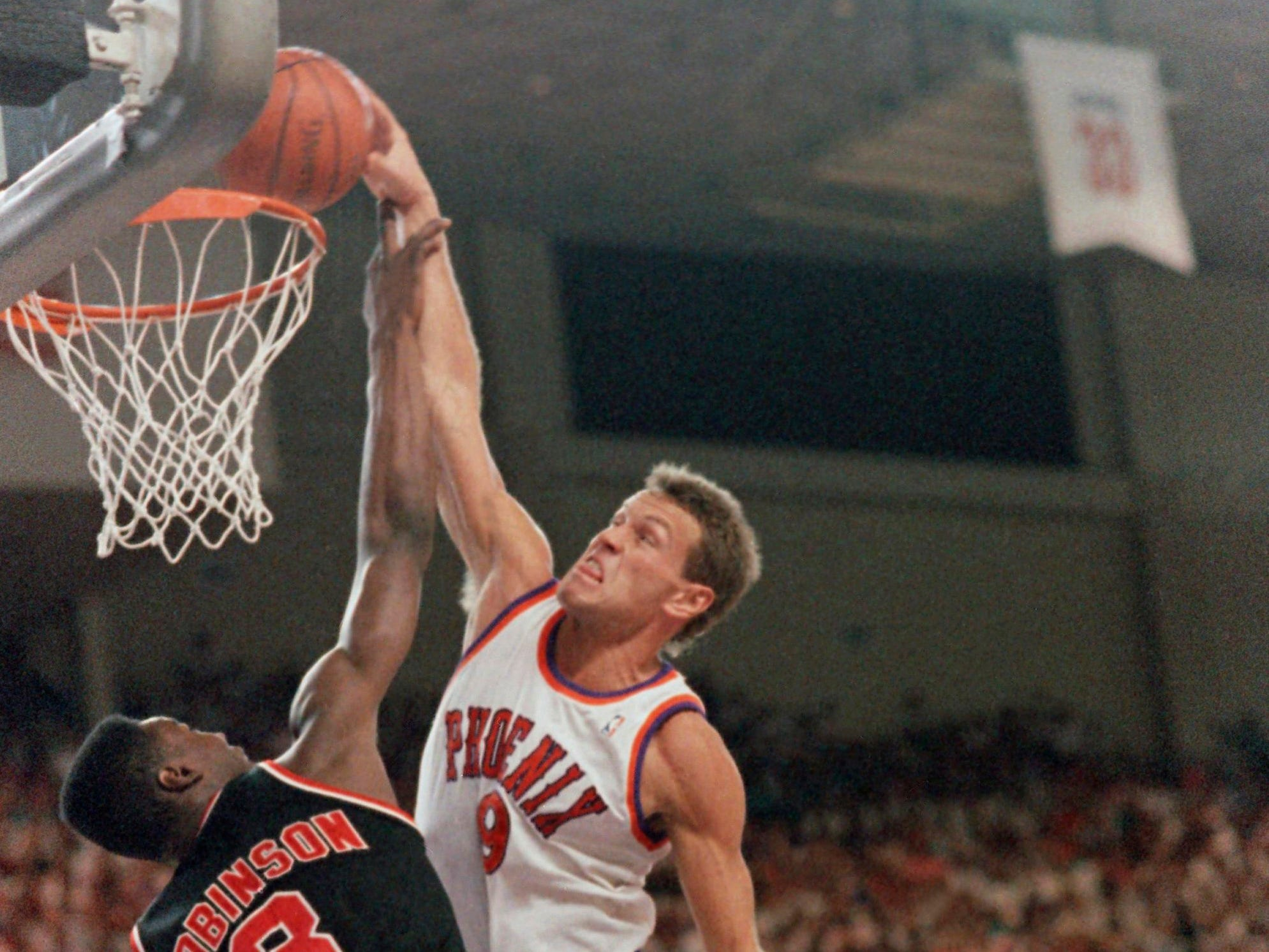 1990-91 | Suns MVP: Dan Majerle (seen the previous season). Thunder Dan came off the bench to average 13.6 points and 5.4 rebounds. But he played starters minutes and was second team All Defense. How many could have guessed how much better it was about to get?