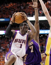 Suns forward Amar'e Stoudemire shoots against the Lakers in the Western Conference finals in 2010.