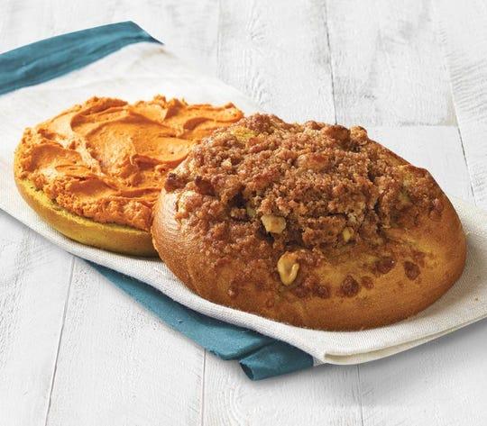 Pumpkin walnut bagel with pumpkin shmear at Einstein Bros.