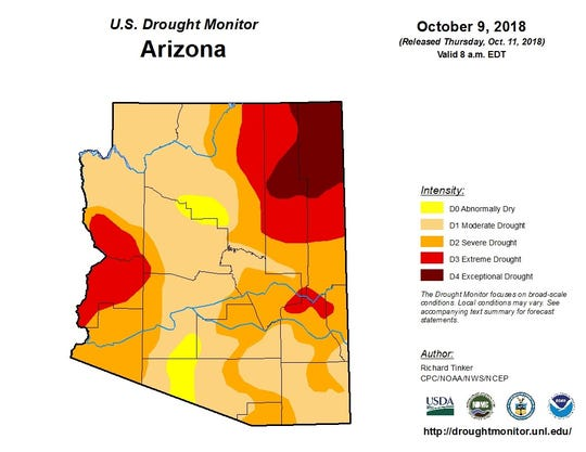 Oct. 9 drought map for Arizona from the U.S. Drought  Monitor.