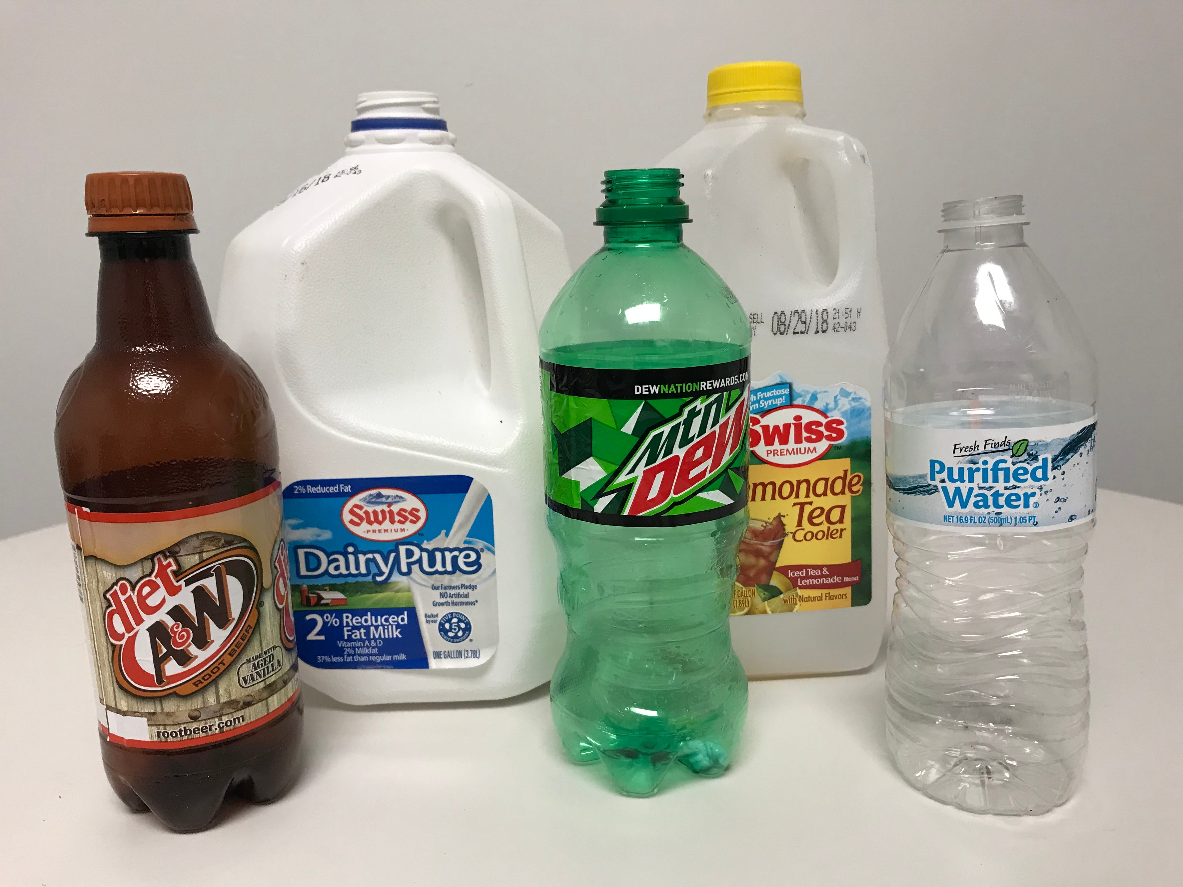 Examples of plastic products that can go into curbside recycling bins.