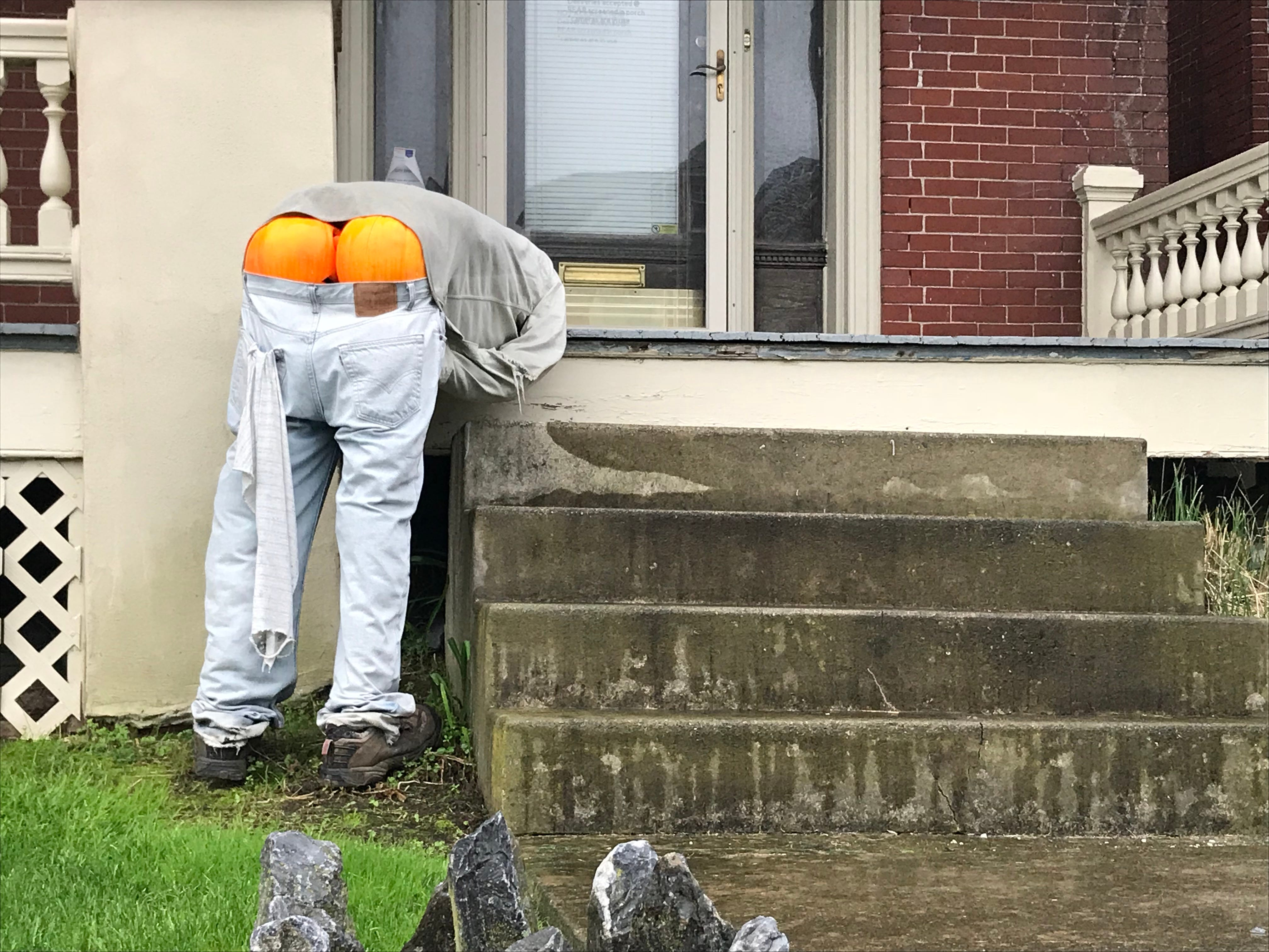 A resident on State Street in Ephrata Borough, Lancaster County, got humorously creative with their 2018 fall decorating.