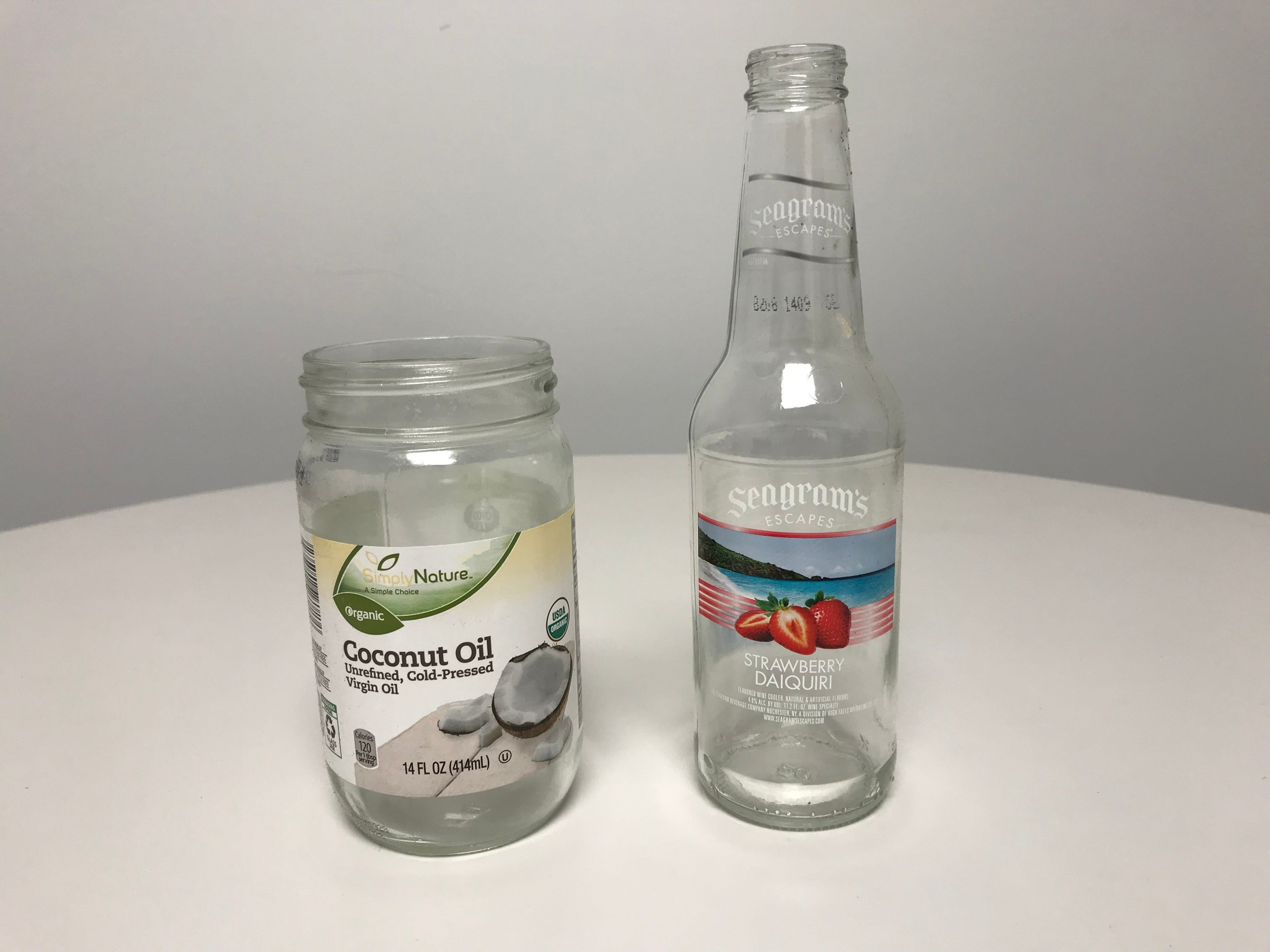 Examples of glass food and beverage containers that can go into curbside recycling bins.