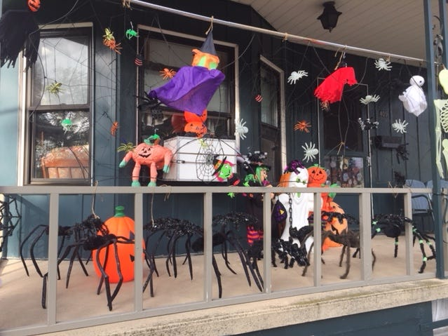Giant spiders, menacing ghosts and things that fly adorn a Myerstown porch along College Avenue.