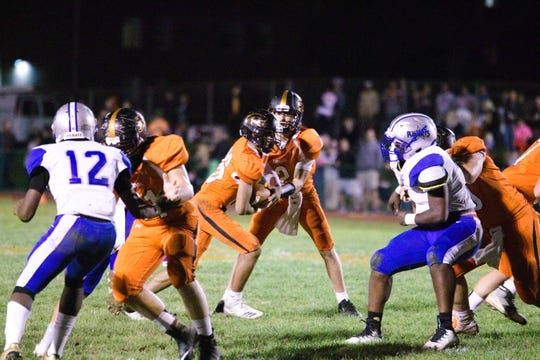Quarterback Grant Haus and running back Caleb Hawkins, with the help of their offensive line mates, have helped Palmyra average more than 35 points a game in its 7-0 start.