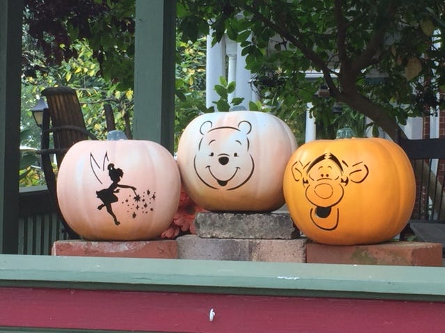 Favorite characters from Walt Disney movies adorn three pumpkins on a porch along College Avenue in Myerstown.