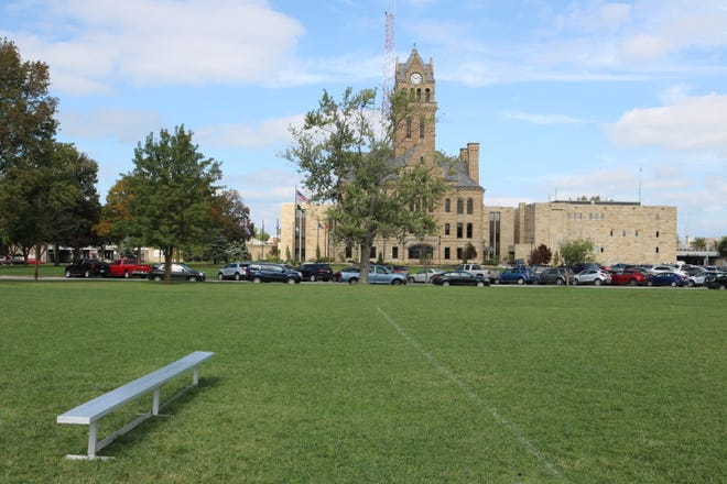 """This four-acre parcel of land on Fourth Street, between Madison and Jefferson streets, where the old middle school and Jefferson Elementary were located, will remain a """"community-friendly"""" green space."""
