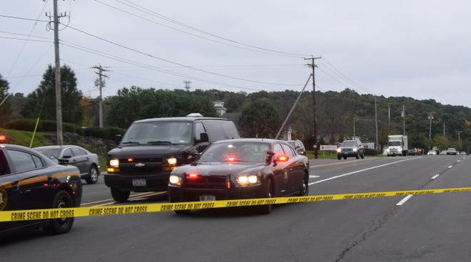 A state police photo shows cars on Route 55 on Thursday morning.