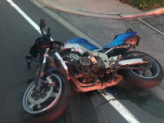 This state police photo shows the motorcycle involved in the accident on Thursday.