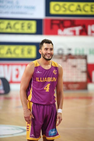Dallastown graduate Four McGlynn, shown here in a game on Sunday, Oct. 7, is playing in his second season in the Portugal Basketball League this season.