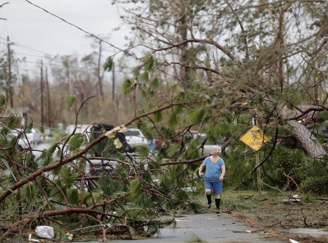 Carol Ralph walks through downed trees blocking her heavily damaged neighborhood just after Hurricane Michael passed through in Panama City, Fla., Wednesday, Oct. 10, 2018. (AP Photo/Gerald Herbert)