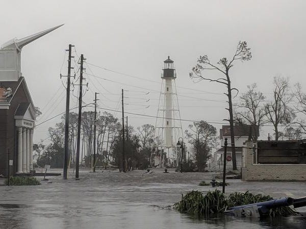 Hurricane Michael formed off the coast of Cuba carrying major Category 4 landfall in the Florida Panhandle. Surge in the Big Bend area, along with catastrophic winds at 155mph. The First Baptist Church of Port St Joe, Fla., was significantly damaged and water remains on the street near the church on Wednesday, Oct. 10, 2018, after Hurricane Michael made landfall in the Florida Panhandle (Douglas R. Clifford/The Tampa Bay Times via AP)