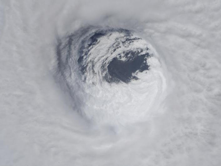 This photo made available by NASA shows they eye of Hurricane Michael, as seen from the International Space Station on Wednesday, Oct. 10, 2018. (NASA via AP)