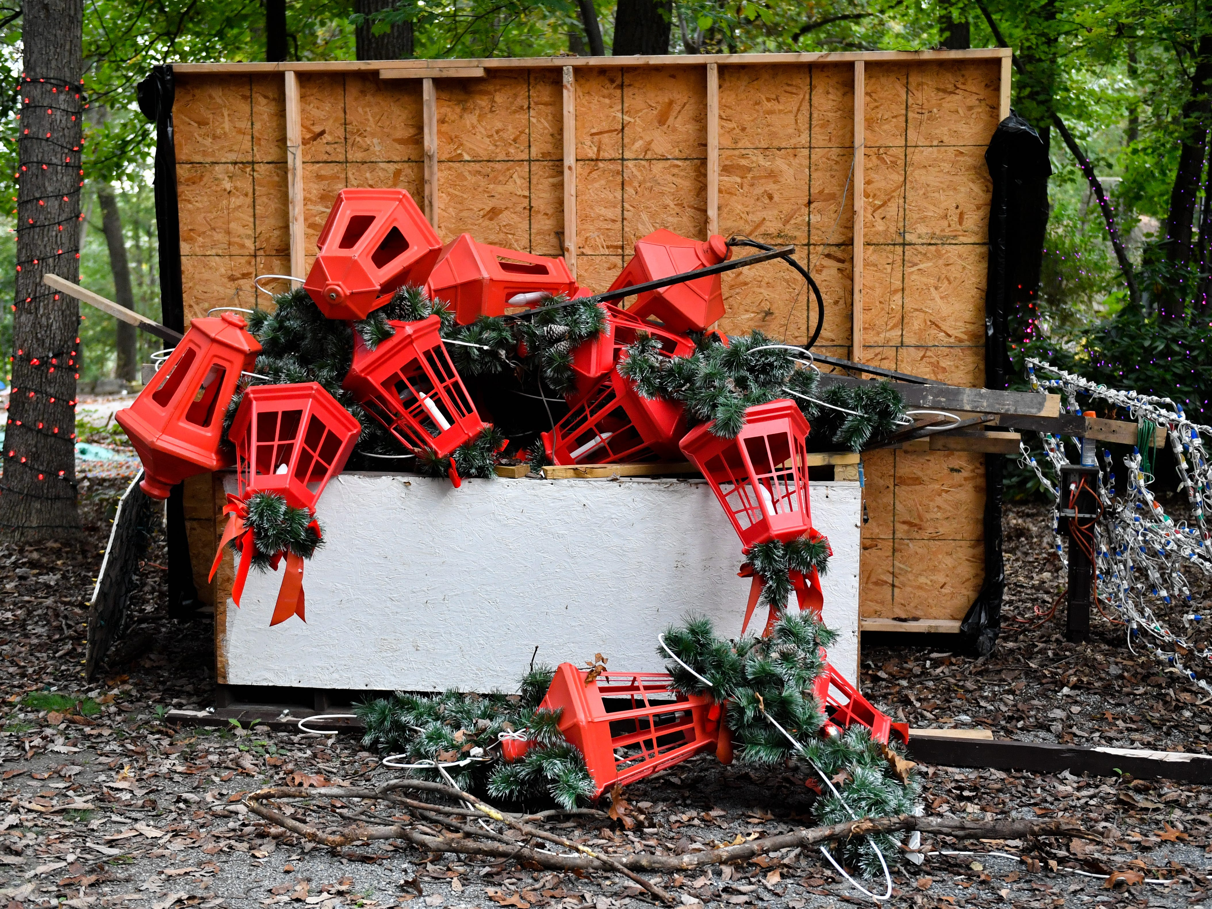 Boxes overflow with decorations at Christmas Magic in Rocky Ridge County Park.