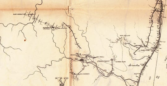 A portion of Persifor Frazer's 1876 map showing the Margaretta furnace and neighboring iron mines.