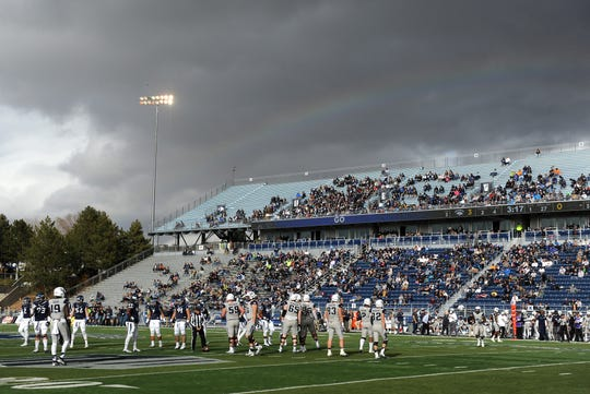 Nevada takes on Utah State during their football game at Mackay Stadium in Reno on Nov. 19, 2016.