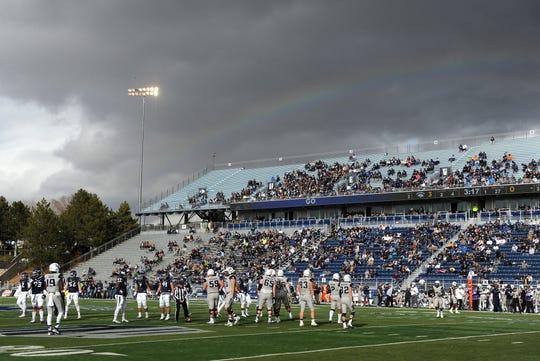 Nevada takes on Utah State during their football game at Mackay Stadium in Reno on Nov. 19, 2016.