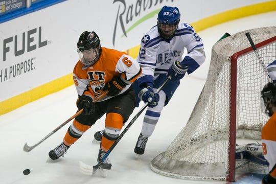 RIT forward Gabe Valenzuela enters his senior year with 84 career points and has a strong shot at the 100-point milestone. He centers RIT's top line with Erik Brown and Abbott Girduckis.