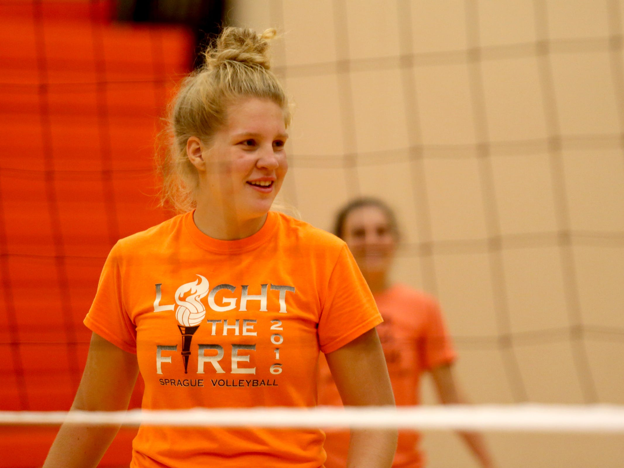 Emily West during a volleyball practice at Sprague High School in Salem on Wednesday, Oct. 10, 2018.