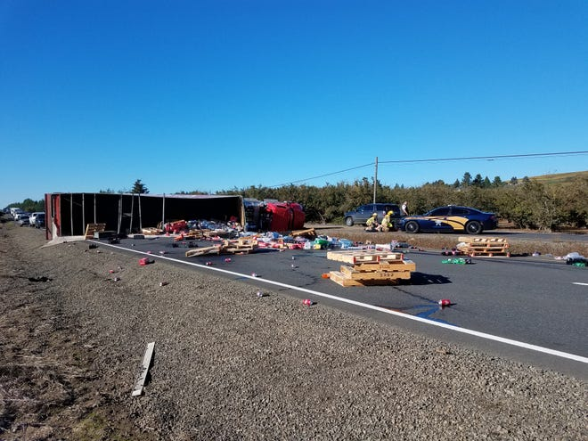 Oregon State Police investigating rollover truck crash on Hwy 99W south of Dundee Bypass.